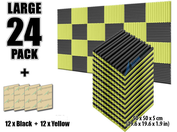 New 24 pcs Black and Yellow Bundle Metro Striped Ceiling Insulation Acoustic Panels Sound Absorption Studio Soundproof Foam KK1041
