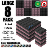New 8 pcs Black and Purple Bundle Hemisphere Grid Type Acoustic Panels Sound Absorption Studio Soundproof Foam KK1040