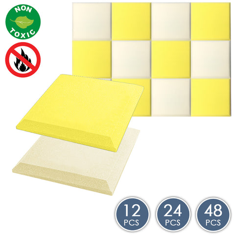 Arrowzoom Flat Bevel Tile Series Pearl White x Yellow Bundle KK1039