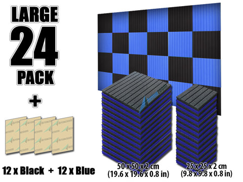 New 24 pcs Black and Blue Bundle Wedge Tiles Acoustic Panels Sound Absorption Studio Soundproof Foam 7 Colors KK1035