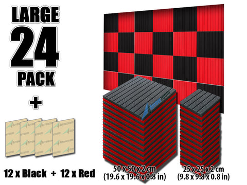 New 24 pcs Black and Red Bundle Wedge Tiles Acoustic Panels Sound Absorption Studio Soundproof Foam 7 Colors KK1035