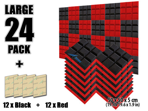 New 24 pcs Black and Red Bundle Bevel Grid Type Acoustic Panels Sound Absorption Studio Soundproof Foam KK1046