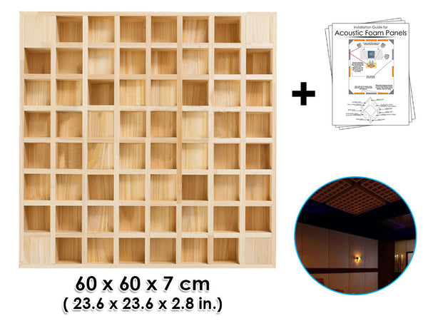 New Bamboo Acoustic Diffuser Wood Panels Sound Absorption Studio Soundproof Panel 60 X 60 X 7 cm (23.6 X 23.6 X 2.8 in) KK1097