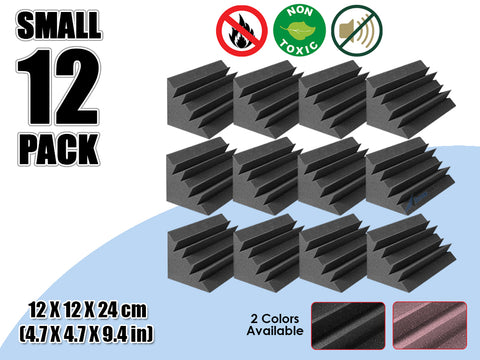 New 12 Pcs Bundle Black Bass Trap Acoustic Panels Sound Absorption Studio Soundproof Foam 2 Colors KK1133