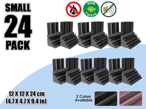 New 24 Pcs Bundle Black Bass Trap Acoustic Panels Sound Absorption Studio Soundproof Foam 2 Colors KK1133