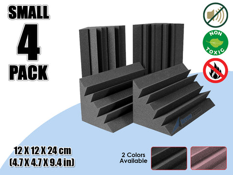 New 4 Pcs Bundle Black Bass Trap Acoustic Panels Sound Absorption Studio Soundproof Foam 2 Colors KK1133