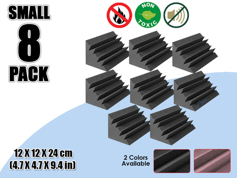 New 8 Pcs Bundle Black Bass Trap Acoustic Panels Sound Absorption Studio Soundproof Foam 2 Colors KK1133