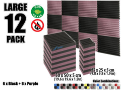 New 12 pcs Black and Purple Wedge Tiles Acoustic Panels Sound Absorption Studio Soundproof Foam KK1134