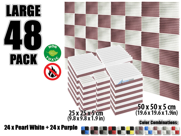 New 48 pcs Pearl White and Purple Wedge Tiles Acoustic Panels Sound Absorption Studio Soundproof Foam KK1134