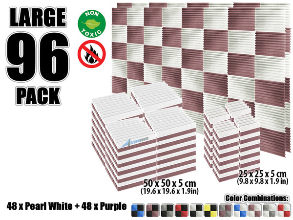 New 96 pcs Pearl White and Purple Wedge Tiles Acoustic Panels Sound Absorption Studio Soundproof Foam KK1134
