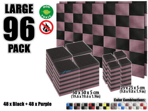 New 96 pcs Black and Purple Wedge Tiles Acoustic Panels Sound Absorption Studio Soundproof Foam KK1134