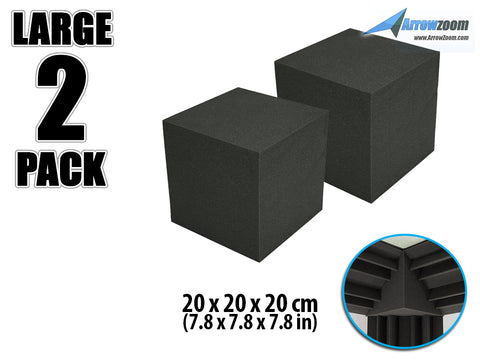 New 2 pcs Cube Corner Bass Trap Block Acoustic Panels Sound Absorption Studio Soundproof Foam 20 x 20 x 20 cm KK1135