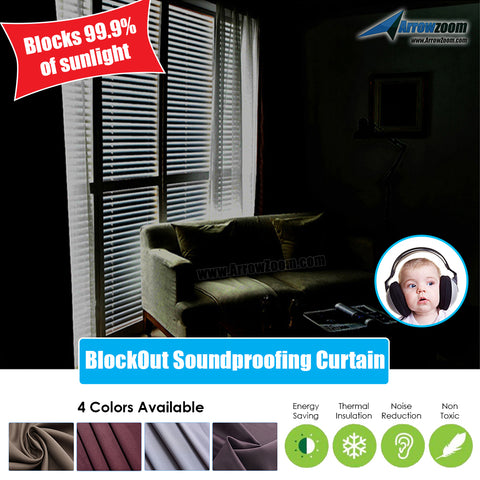 Arrowzoom 99.9% Black Out Soundproofing Curtain Acoustical Treatment Room Darkening Sound and Thermal Insulation KK1145