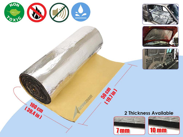 Arrowzoom 1 Meter Sound Deadening Quiet Insulation Mat Automotive Deadener Wall Soundproofing Foam Panels Heat Sound Aluminum Foil KK1149