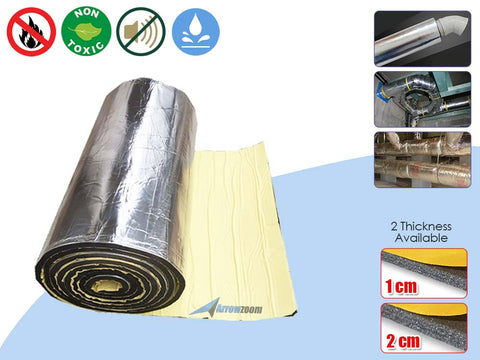 Arrowzoom 1 Meter Pipe Thick Fireproof Self-Adhesive Water Pipe, Furnace, AirCon, Ceiling, Automotive Insulation Foam Sound Deadening Aluminum Foil Face KK1151