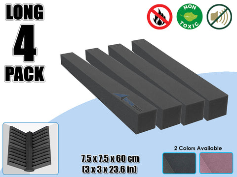 Arrowzoom 4 PCS Long Corner Block Bass Trap Edge Fill Block for Corner Wall Sound Absorption Studio Soundproof Foam 2 Colors KK1160