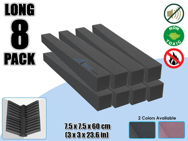 Arrowzoom 8 PCS Long Corner Block Bass Trap Edge Fill Block for Corner Wall Sound Absorption Studio Soundproof Foam 2 Colors KK1160