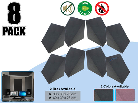Arrowzoom 8 Pcs Triangle Corner Bass Trap Acoustic Foam for Room Audio Isolation and Studio Soundproofing 2 Sizes KK1161
