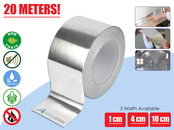 Arrowzoom 20 Meters Aluminum Foil Tape Roll Metal Repair Heat Resistant Waterproof Thermal Insulation KK1172