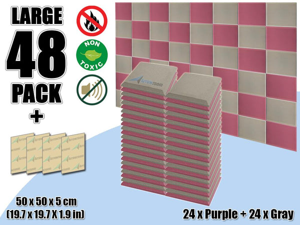 New 48 pcs Purple & Gray Bundle Flat Bevel Tile Acoustic Panels Sound Absorption Studio Soundproof Foam KK1039