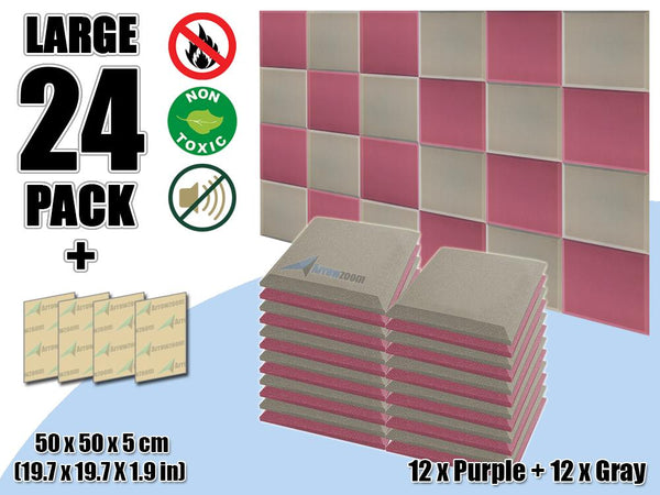New 24 pcs Purple & Gray Bundle Flat Bevel Tile Acoustic Panels Sound Absorption Studio Soundproof Foam KK1039