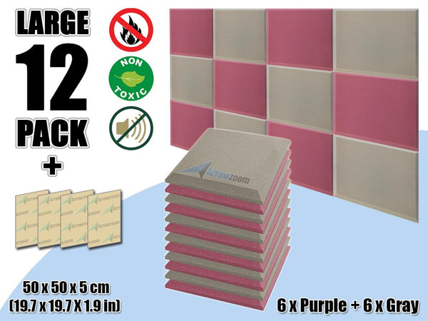 New 12 pcs Purple & Gray Bundle Flat Bevel Tile Acoustic Panels Sound Absorption Studio Soundproof Foam KK1039