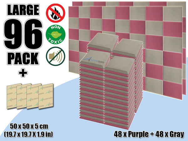 New 96 pcs Purple & Gray Bundle Flat Bevel Tile Acoustic Panels Sound Absorption Studio Soundproof Foam KK1039