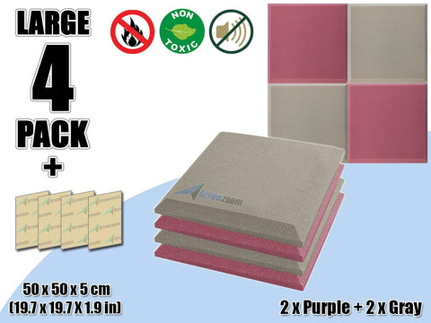 New 4 pcs Purple & Gray Bundle Flat Bevel Tile Acoustic Panels Sound Absorption Studio Soundproof Foam KK1039