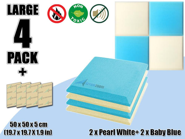 New 4 pcs Pearl White & Baby Blue Bundle Flat Bevel Tile Acoustic Panels Sound Absorption Studio Soundproof Foam KK1039