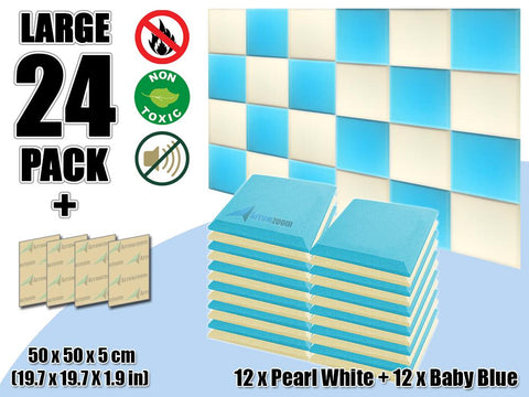 New 24 pcs Pearl White & Baby Blue Bundle Flat Bevel Tile Acoustic Panels Sound Absorption Studio Soundproof Foam KK1039