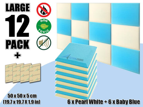 New 12 pcs Pearl White & Baby Blue Bundle Flat Bevel Tile Acoustic Panels Sound Absorption Studio Soundproof Foam KK1039