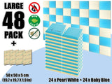New 48 pcs Pearl White & Baby Blue Bundle Flat Bevel Tile Acoustic Panels Sound Absorption Studio Soundproof Foam KK1039
