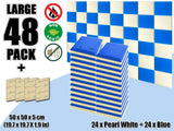 New 48 pcs Pearl White & Blue Bundle Flat Bevel Tile Acoustic Panels Sound Absorption Studio Soundproof Foam KK1039