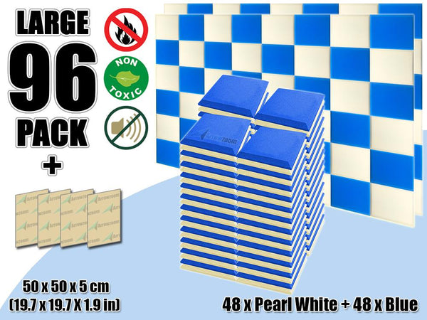 New 96 pcs Pearl White & Blue Bundle Flat Bevel Tile Acoustic Panels Sound Absorption Studio Soundproof Foam KK1039