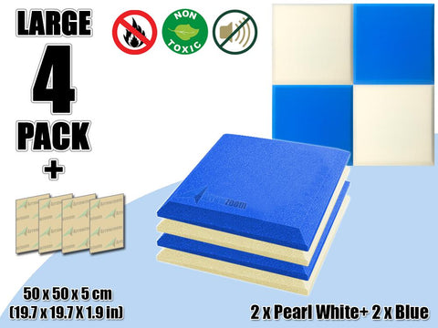 New 4 pcs Pearl White & Blue Bundle Flat Bevel Tile Acoustic Panels Sound Absorption Studio Soundproof Foam KK1039