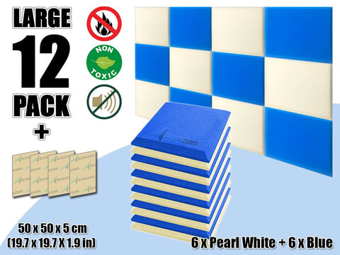 New 12 pcs Pearl White & Blue Bundle Flat Bevel Tile Acoustic Panels Sound Absorption Studio Soundproof Foam KK1039