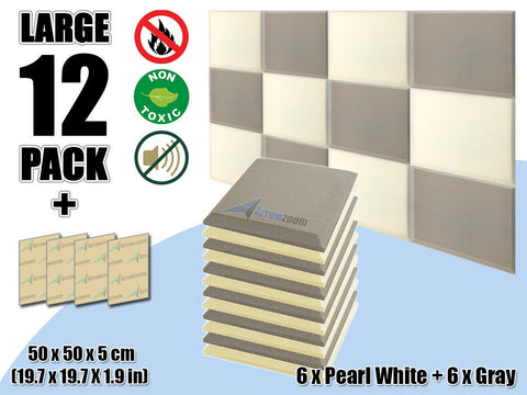 New 12 pcs Pearl White & Gray Bundle Flat Bevel Tile Acoustic Panels Sound Absorption Studio Soundproof Foam KK1039