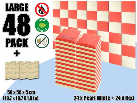 New 48 pcs Pearl White & Red Bundle Flat Bevel Tile Acoustic Panels Sound Absorption Studio Soundproof Foam KK1039