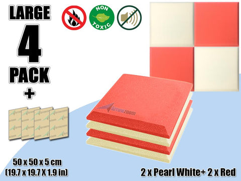 New 4 pcs Pearl White & Red Bundle Flat Bevel Tile Acoustic Panels Sound Absorption Studio Soundproof Foam KK1039