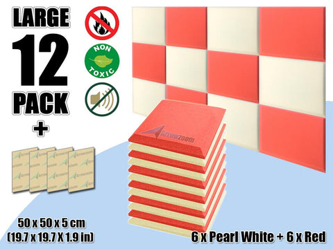 New 12 pcs Pearl White & Red Bundle Flat Bevel Tile Acoustic Panels Sound Absorption Studio Soundproof Foam KK1039