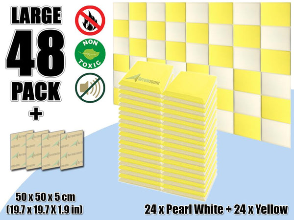 New 48 pcs Pearl White & Yellow Bundle Flat Bevel Tile Acoustic Panels Sound Absorption Studio Soundproof Foam KK1039