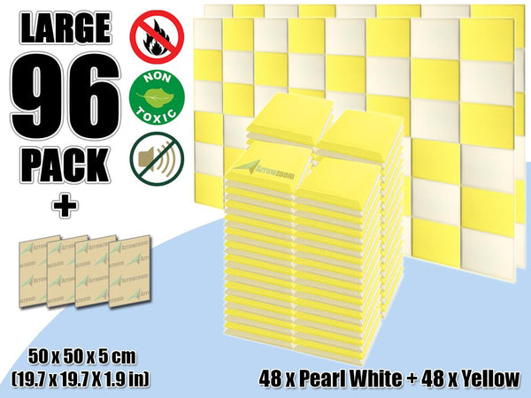 New 96 pcs Pearl White & Yellow Bundle Flat Bevel Tile Acoustic Panels Sound Absorption Studio Soundproof Foam KK1039