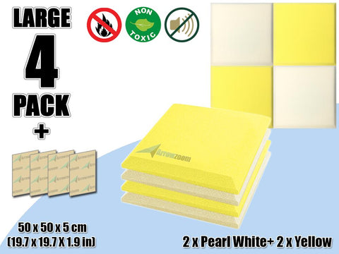New 4 pcs Pearl White & Yellow Bundle Flat Bevel Tile Acoustic Panels Sound Absorption Studio Soundproof Foam KK1039