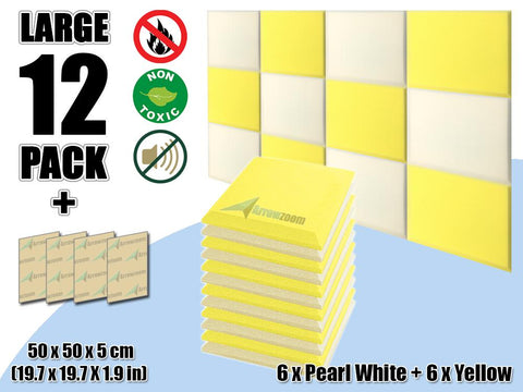 New 12 pcs Pearl White & Yellow Bundle Flat Bevel Tile Acoustic Panels Sound Absorption Studio Soundproof Foam KK1039