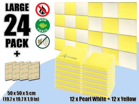 New 24 pcs Pearl White & Yellow Bundle Flat Bevel Tile Acoustic Panels Sound Absorption Studio Soundproof Foam KK1039