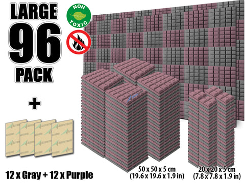 New 96 pcs Gray and Purple Bundle Hemisphere Grid Type Acoustic Panels Sound Absorption Studio Soundproof Foam KK1040