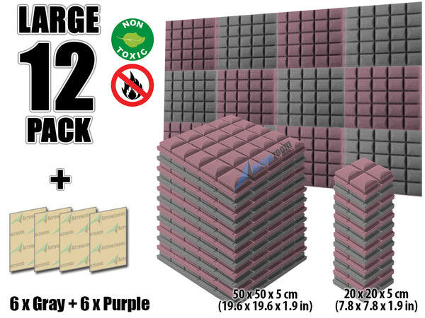 New 12 pcs Gray and Purple Bundle Hemisphere Grid Type Acoustic Panels Sound Absorption Studio Soundproof Foam KK1040