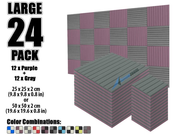 New 24 pcs Gray and Purple Bundle Wedge Tiles Acoustic Panels Sound Absorption Studio Soundproof Foam KK1035