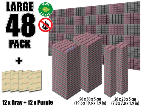 New 48 pcs Gray and Purple Bundle Hemisphere Grid Type Acoustic Panels Sound Absorption Studio Soundproof Foam KK1040