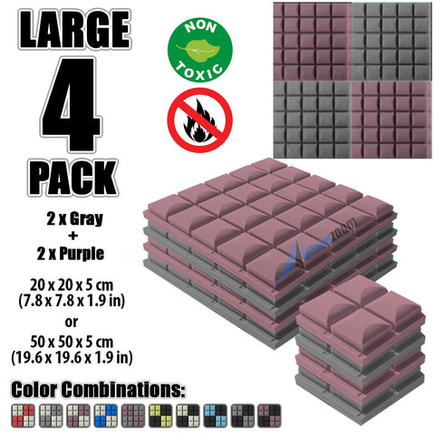 New 4 pcs Gray and Purple Bundle Hemisphere Grid Type Acoustic Panels Sound Absorption Studio Soundproof Foam KK1040
